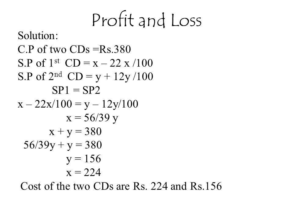 Profit and Loss Solution: C.P of two CDs =Rs.380