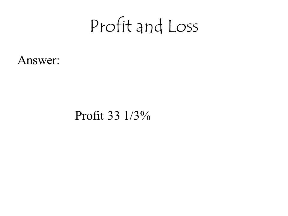 Profit and Loss Answer: Profit 33 1/3%