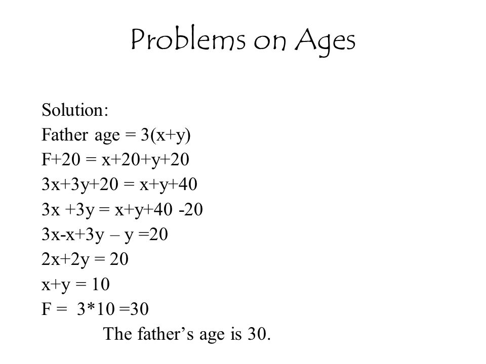 Problems on Ages Solution: Father age = 3(x+y) F+20 = x+20+y+20