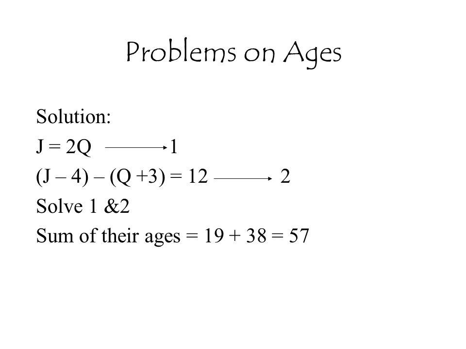 Problems on Ages Solution: J = 2Q 1 (J – 4) – (Q +3) = 12 2 Solve 1 &2