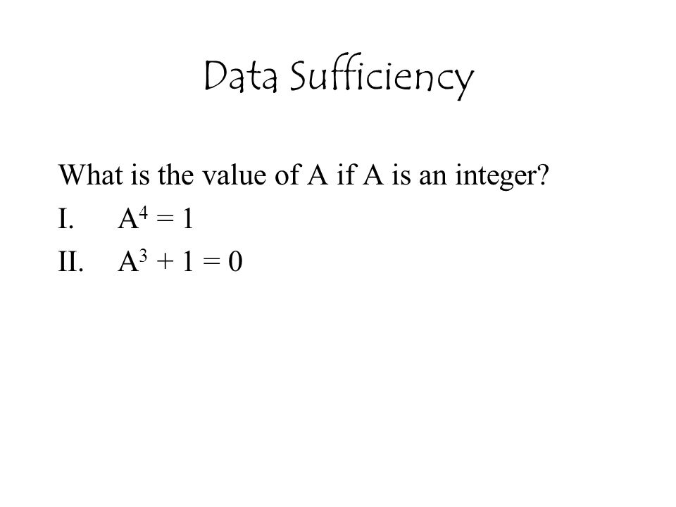 What is the value of A if A is an integer A4 = 1 A3 + 1 = 0