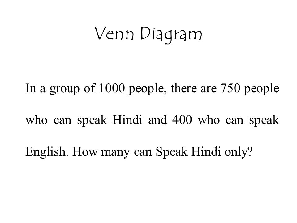 Venn Diagram In a group of 1000 people, there are 750 people who can speak Hindi and 400 who can speak English.