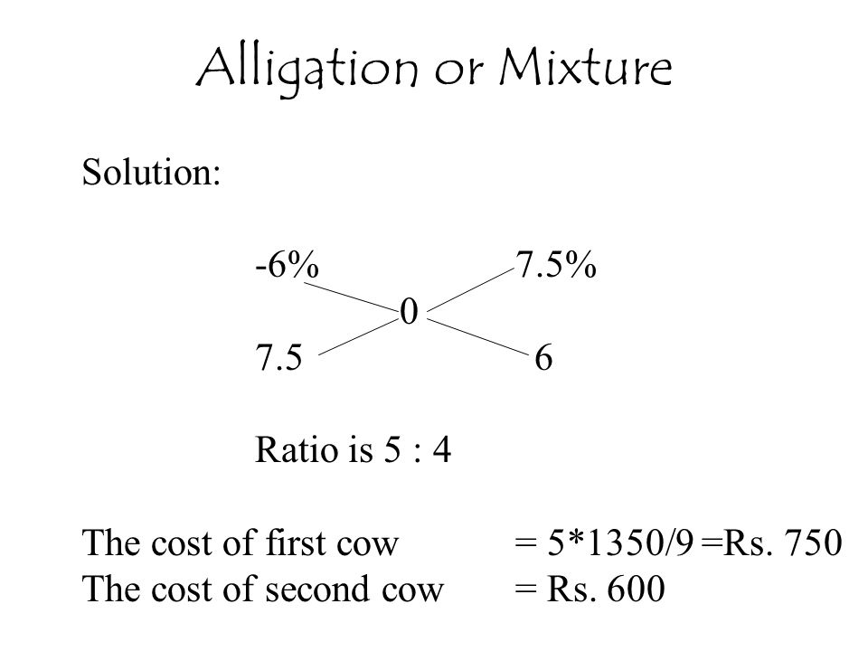 Alligation or Mixture Solution: -6% 7.5% 7.5 6 Ratio is 5 : 4