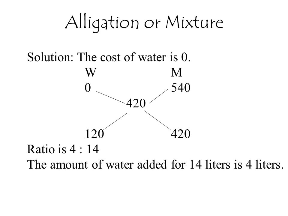 Alligation or Mixture Solution: The cost of water is 0. W M 0 540 420
