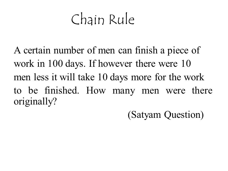 Chain Rule A certain number of men can finish a piece of