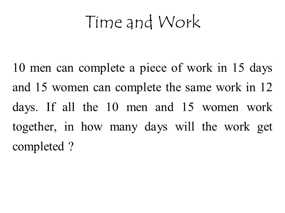 Time and Work