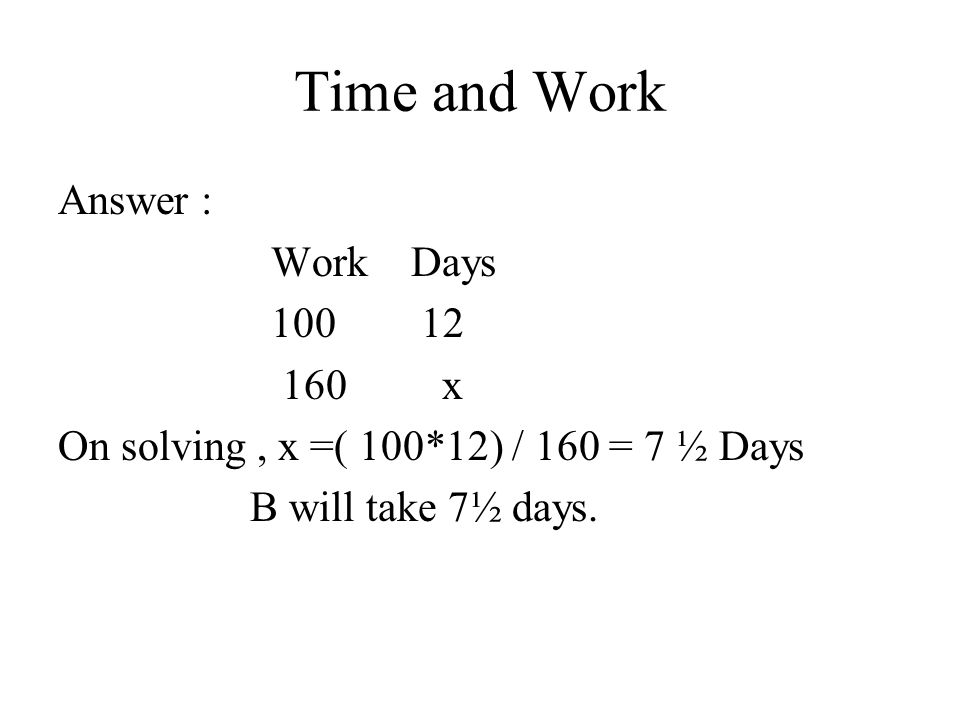 Time and Work Answer : Work Days 100 12 160 x