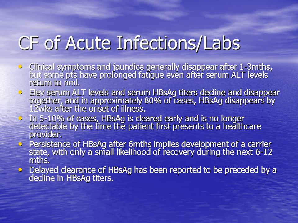 CF of Acute Infections/Labs
