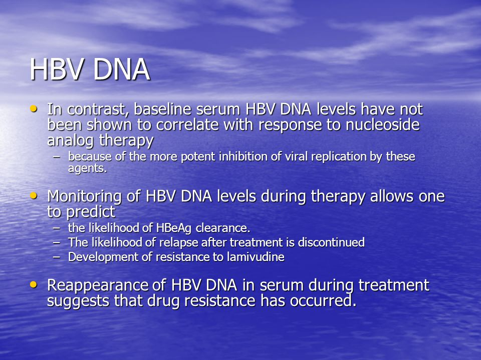 HBV DNA In contrast, baseline serum HBV DNA levels have not been shown to correlate with response to nucleoside analog therapy.