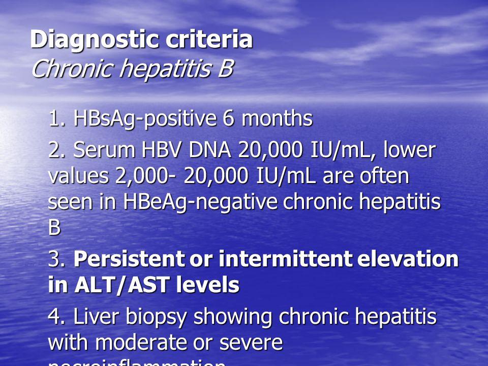 Diagnostic criteria Chronic hepatitis B