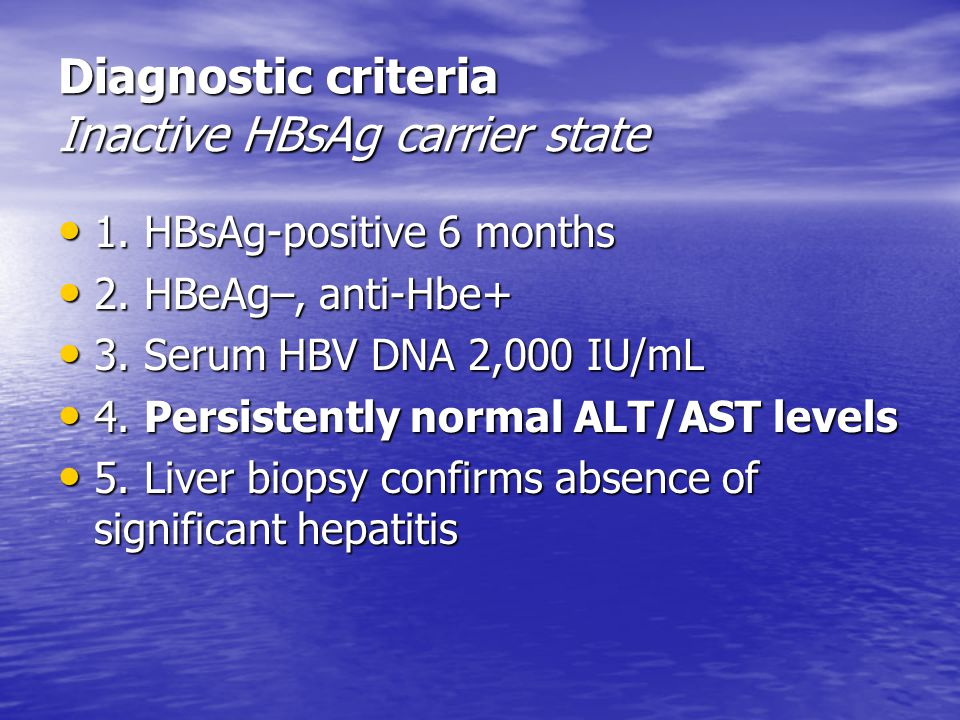Diagnostic criteria Inactive HBsAg carrier state
