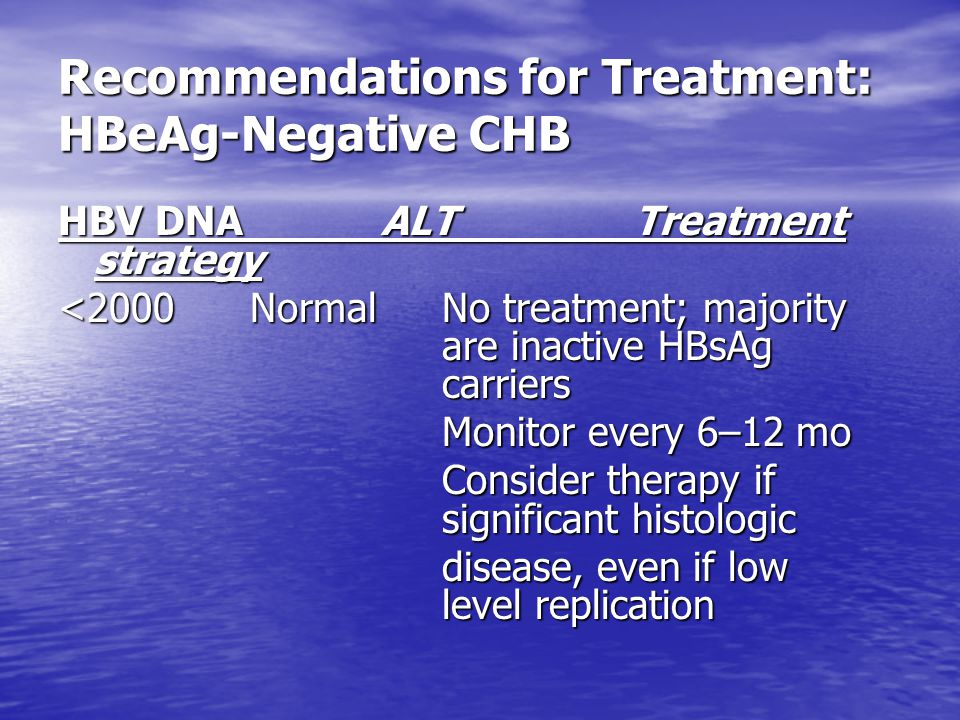 Recommendations for Treatment: HBeAg-Negative CHB