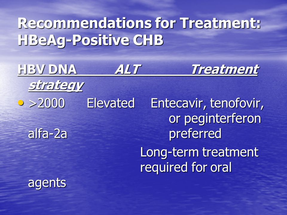 Recommendations for Treatment: HBeAg-Positive CHB