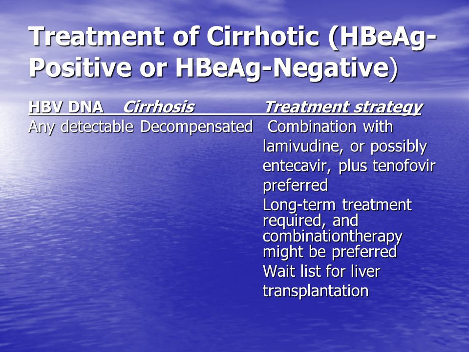 Treatment of Cirrhotic (HBeAg-Positive or HBeAg-Negative)