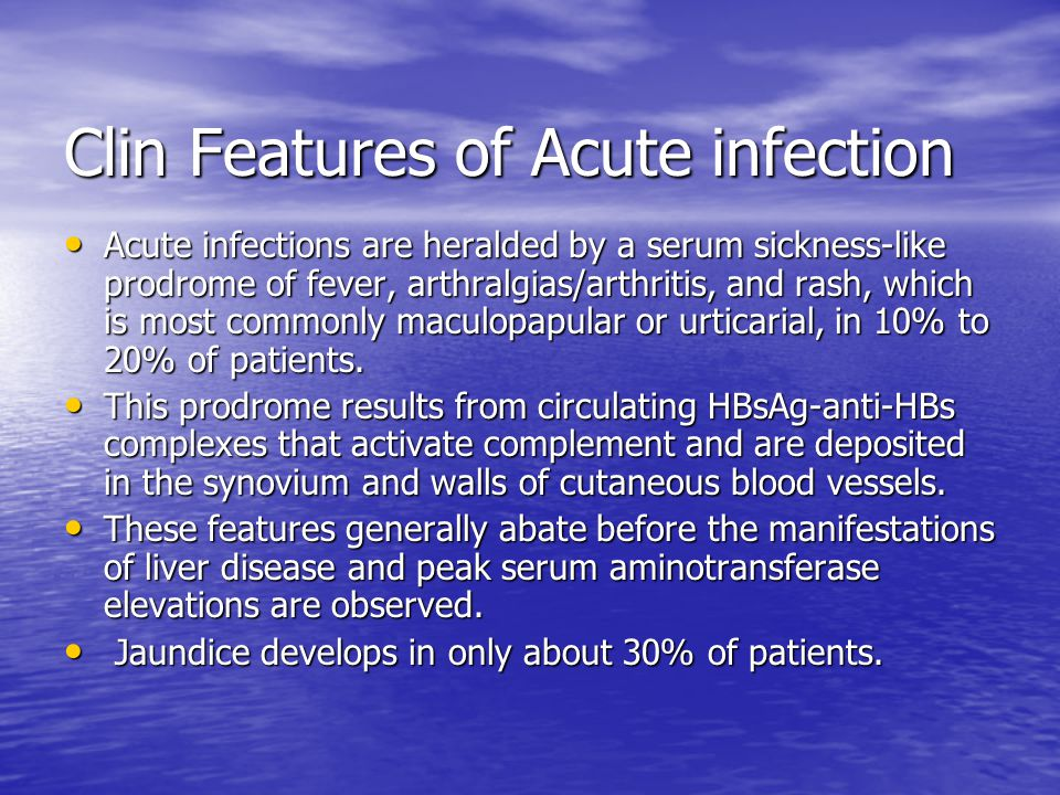 Clin Features of Acute infection