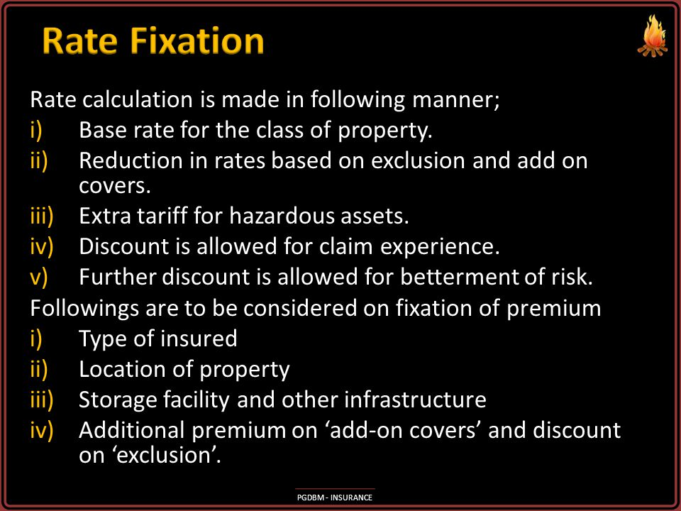 Rate Fixation Rate calculation is made in following manner;