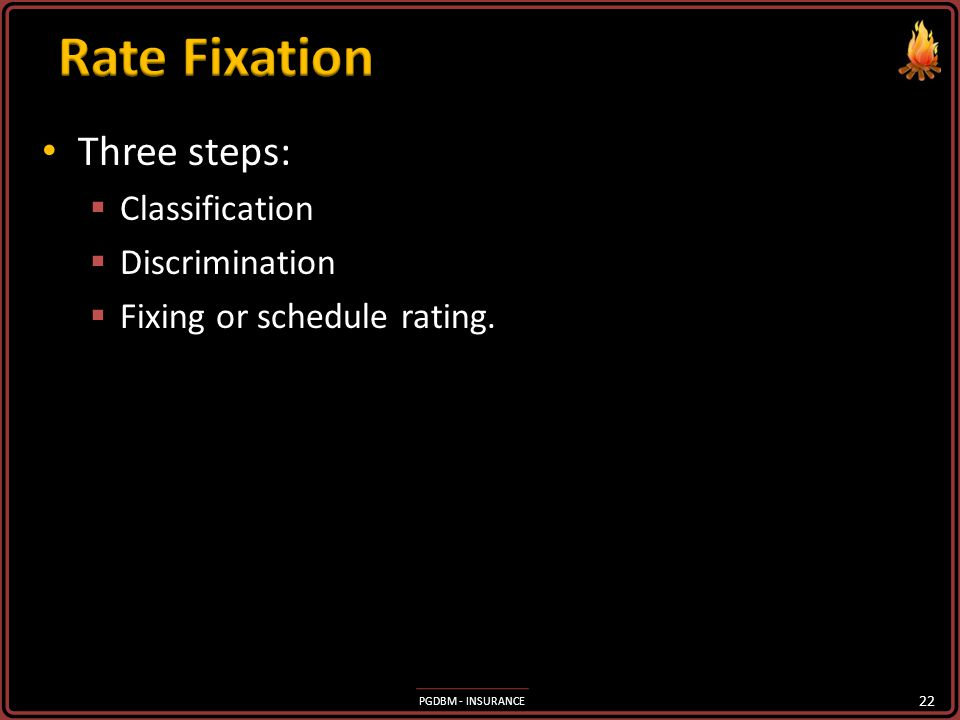 Rate Fixation Three steps: Classification Discrimination