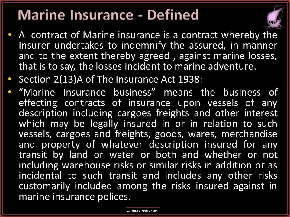 Marine Insurance - Defined