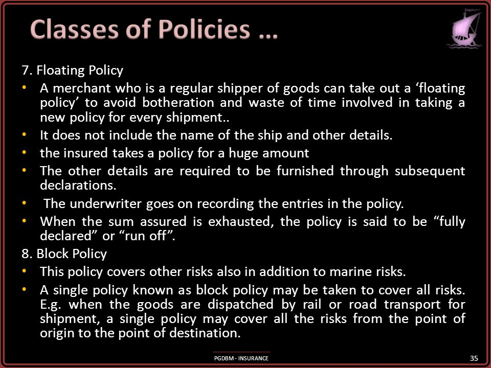 Classes of Policies … 7. Floating Policy