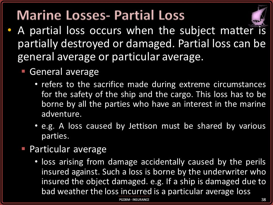 Marine Losses- Partial Loss