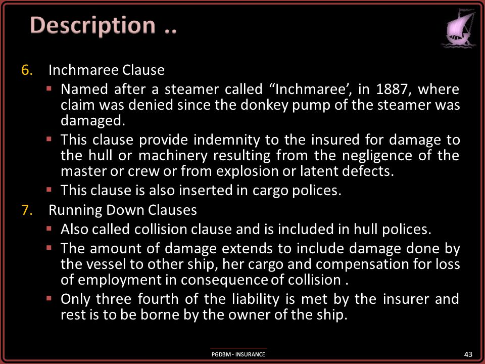 Description .. Inchmaree Clause
