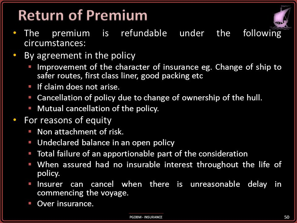 Return of Premium The premium is refundable under the following circumstances: By agreement in the policy.
