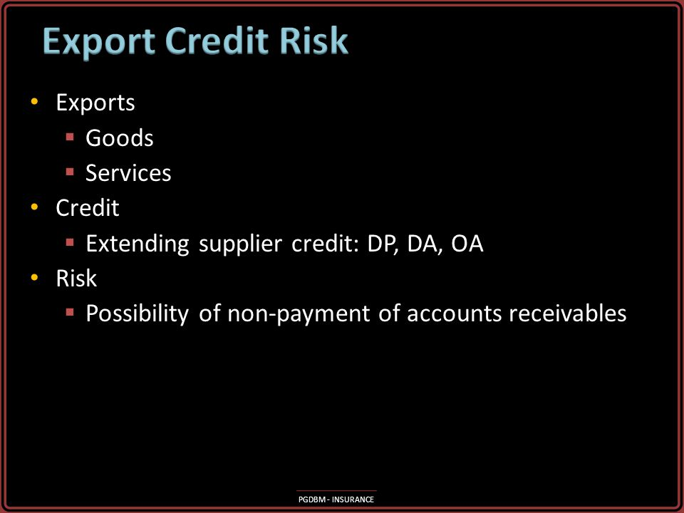 Export Credit Risk Exports Goods Services Credit