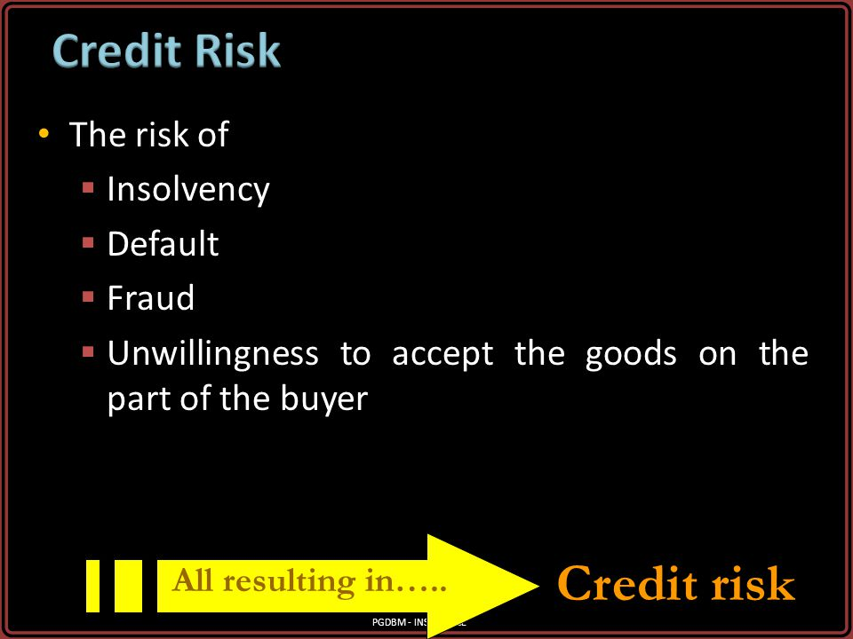 Credit risk Credit Risk The risk of Insolvency Default Fraud