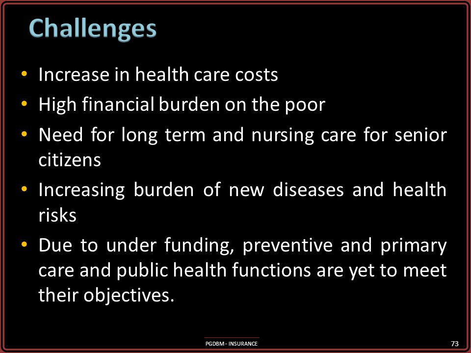 Challenges Increase in health care costs