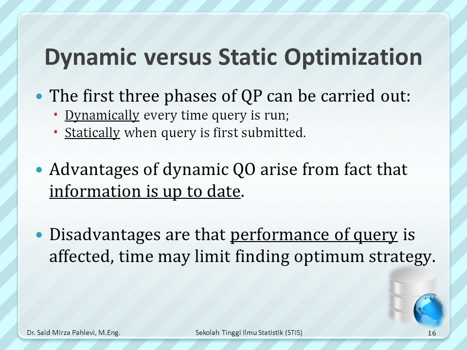Dynamic versus Static Optimization
