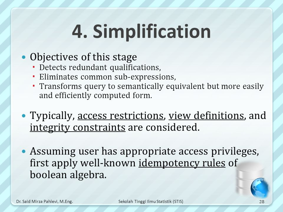 4. Simplification Objectives of this stage