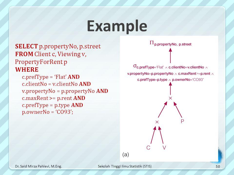 Example SELECT p.propertyNo, p.street