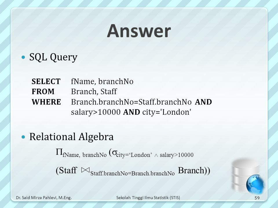 Answer SQL Query Relational Algebra