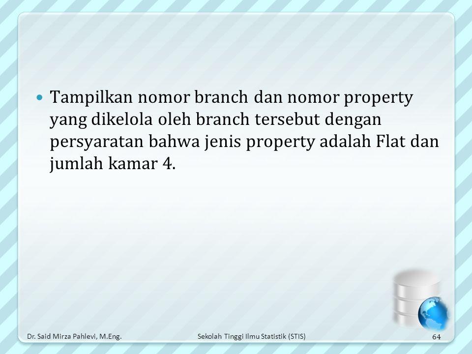 Tampilkan nomor branch dan nomor property yang dikelola oleh branch tersebut dengan persyaratan bahwa jenis property adalah Flat dan jumlah kamar 4.