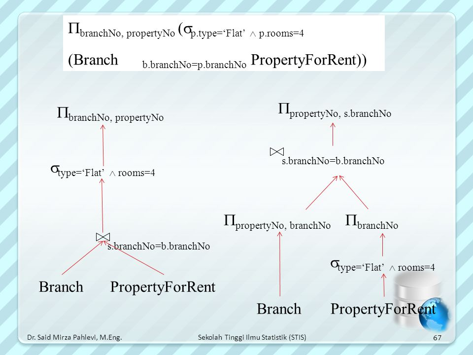 Answer branchNo, propertyNo (p.type='Flat'  p.rooms=4