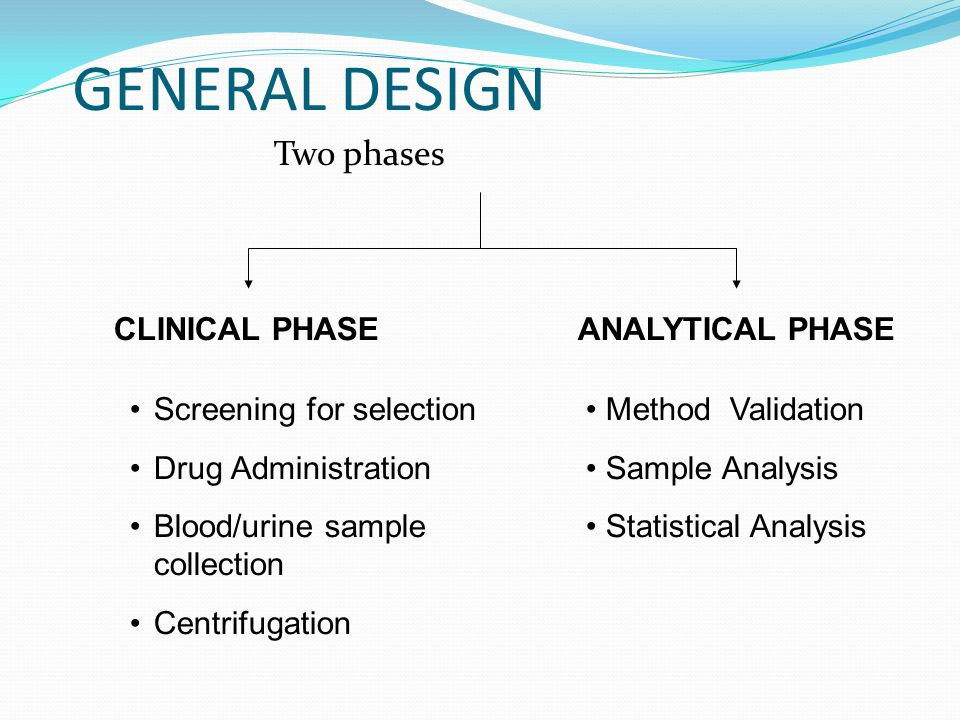 GENERAL DESIGN Two phases CLINICAL PHASE ANALYTICAL PHASE