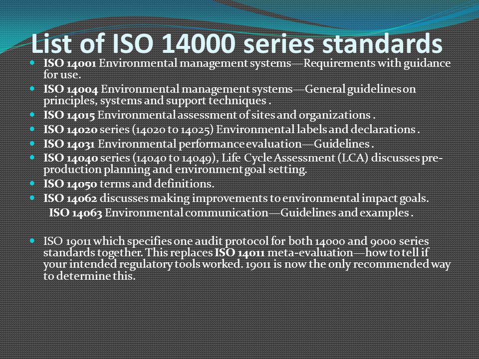 List of ISO 14000 series standards