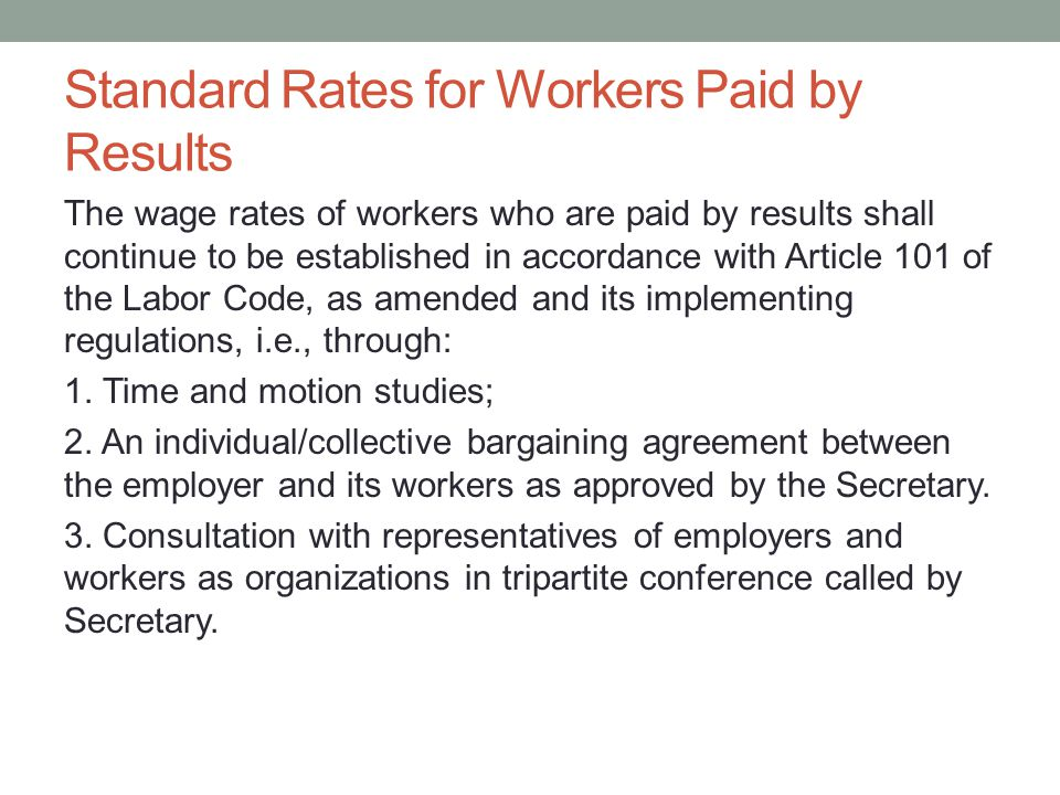 Standard Rates for Workers Paid by Results