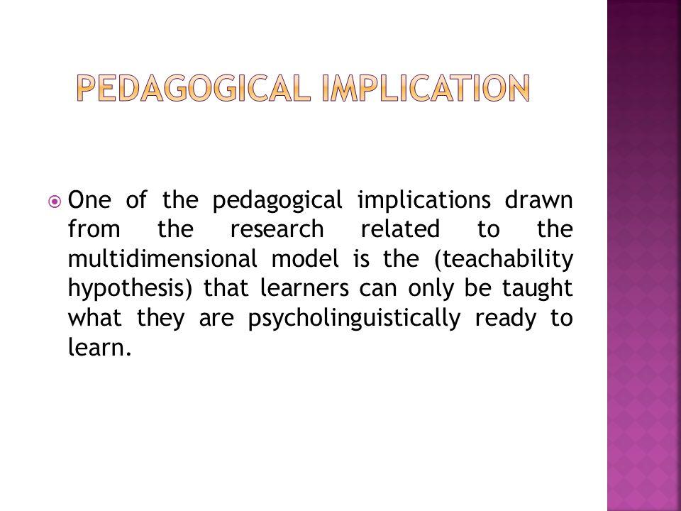 Pedagogical implication