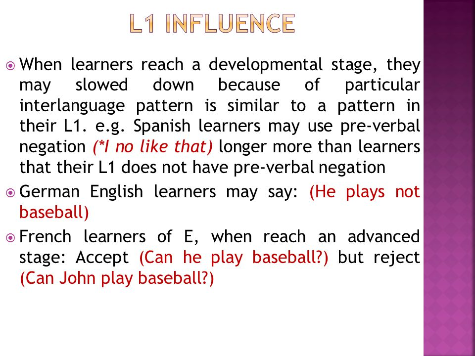 L1 influence