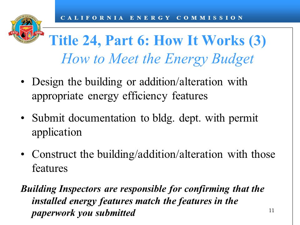 Title 24, Part 6: How It Works (3) How to Meet the Energy Budget