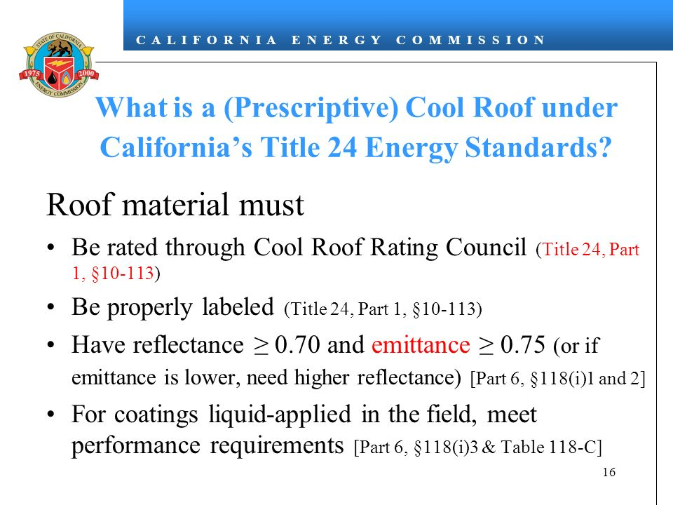 What is a (Prescriptive) Cool Roof under California's Title 24 Energy Standards