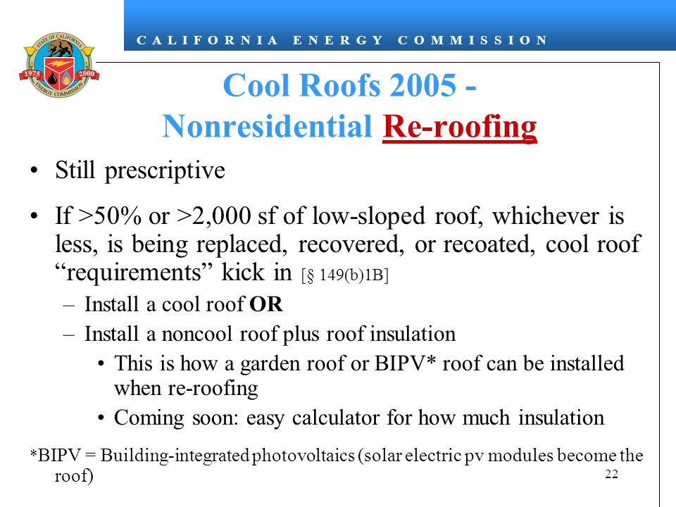 Cool Roofs Nonresidential Re-roofing