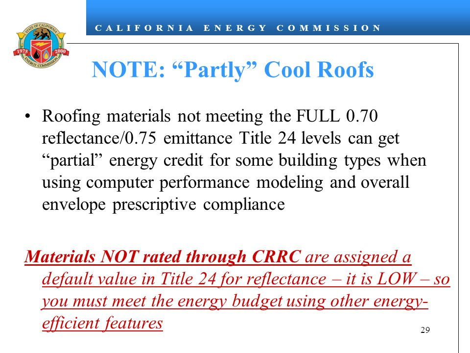 NOTE: Partly Cool Roofs