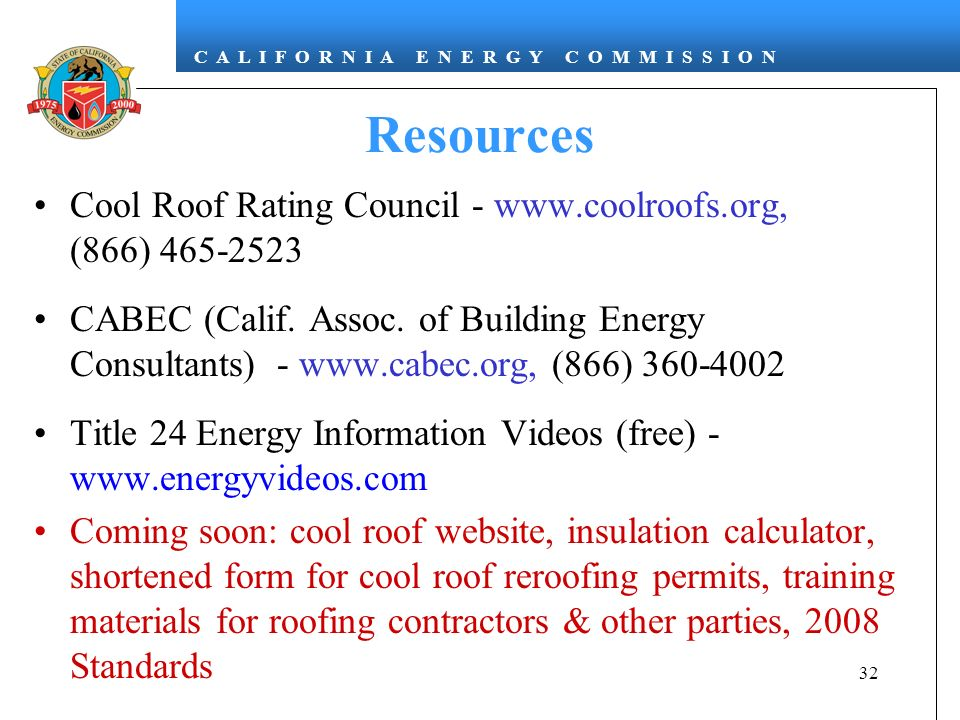 Resources Cool Roof Rating Council - www.coolroofs.org, (866) 465-2523