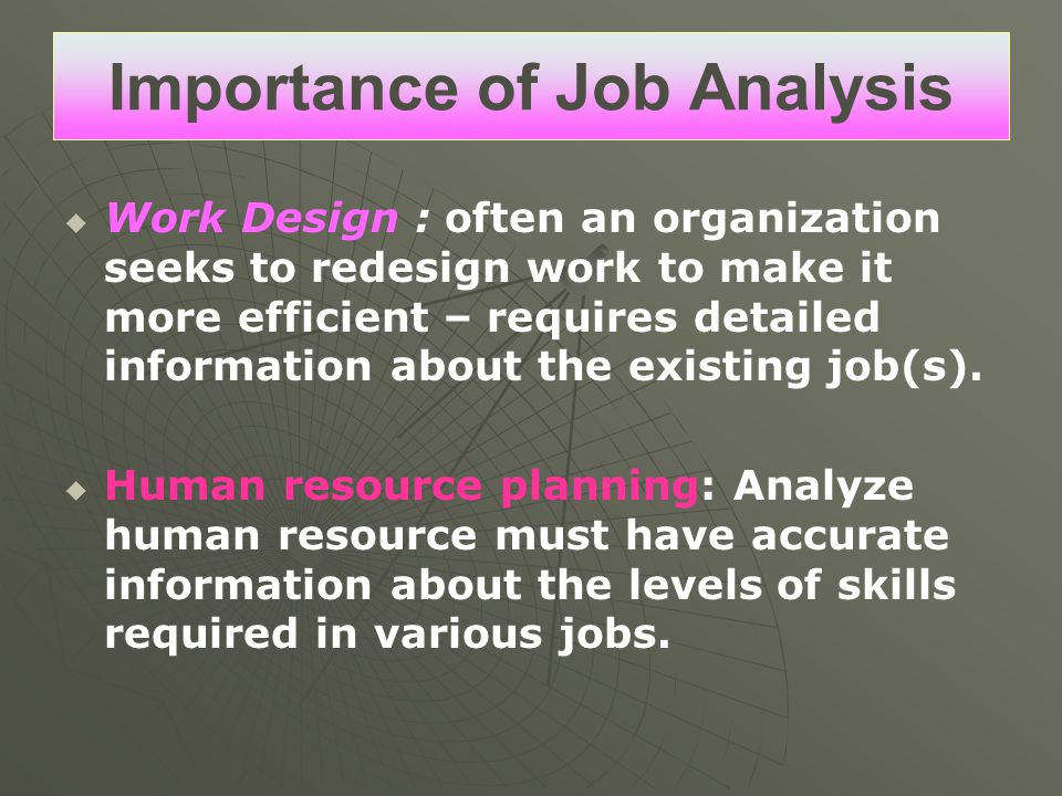 Importance of Job Analysis