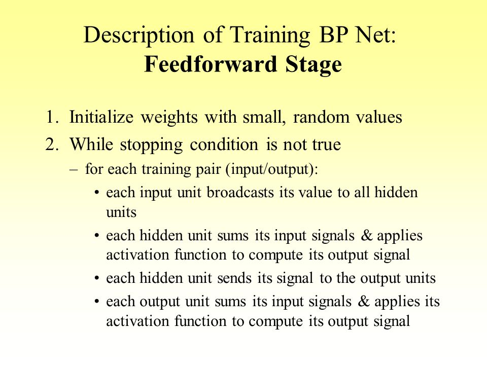Description of Training BP Net: Feedforward Stage