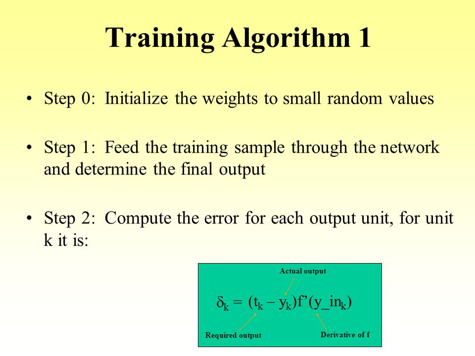 Training Algorithm 1 Step 0: Initialize the weights to small random values.