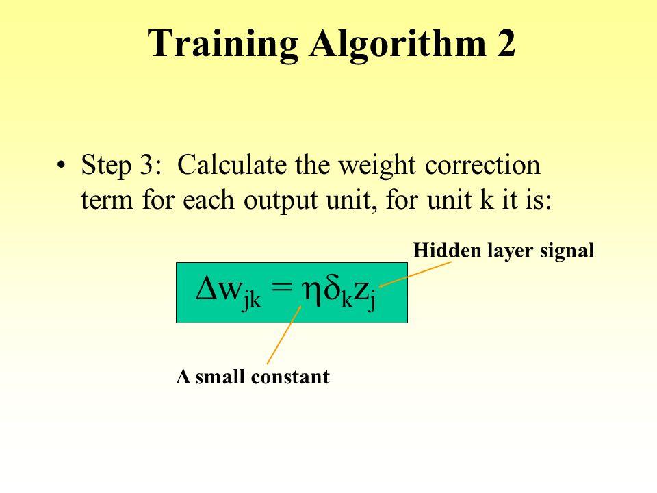 Training Algorithm 2 Dwjk = hdkzj