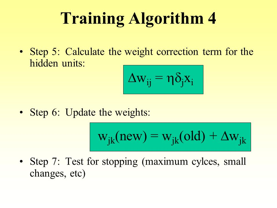 Training Algorithm 4 Dwij = hdjxi wjk(new) = wjk(old) + Dwjk